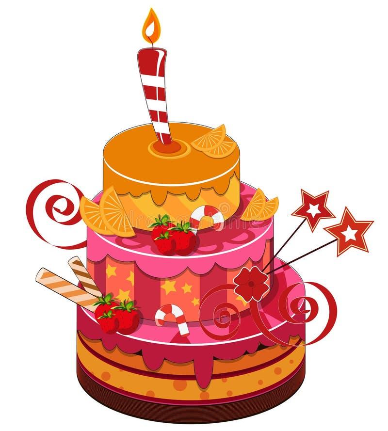 Bolo de aniversário grande da morango ilustração stock
