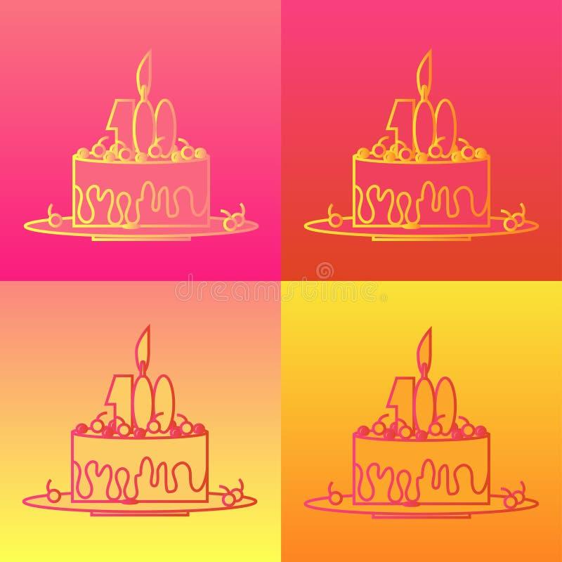Bolo de aniversário no estilo do contorno do esboço Ajuste dos ícones em quatro fundos coloridos ilustração do vetor
