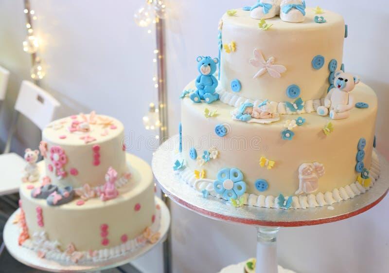 Bolo de aniversário para bebês fotografia de stock royalty free
