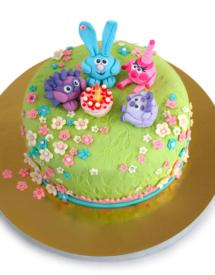 Bolo de aniversário para a criança imagens de stock royalty free