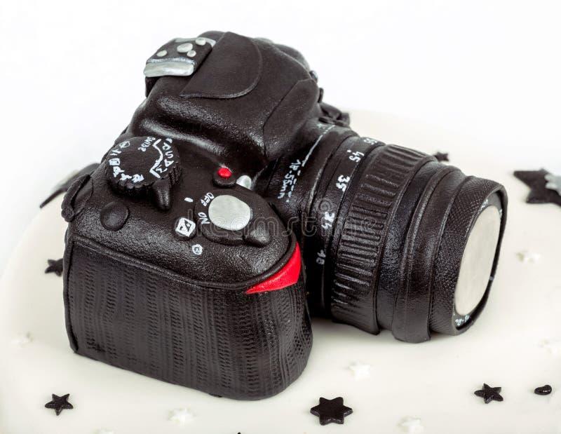 Bolo de aniversário para o aniversário quarenta com camer moderno da foto de DSLR foto de stock royalty free