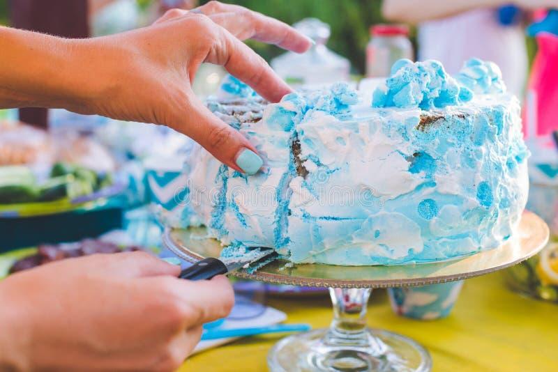 Bolo de aniversário para o aniversário Uma parte já cortou A faca corta o bolo Piquenique no parque em um dia ensolarado Azul do  fotos de stock