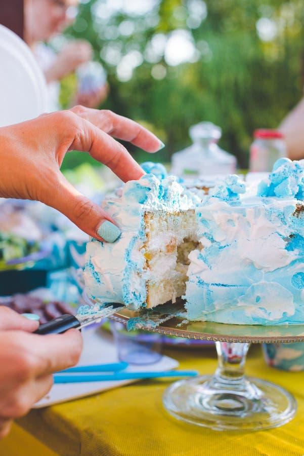 Bolo de aniversário para o aniversário Uma parte já cortou A faca corta o bolo Piquenique no parque em um dia ensolarado Azul do  fotos de stock royalty free