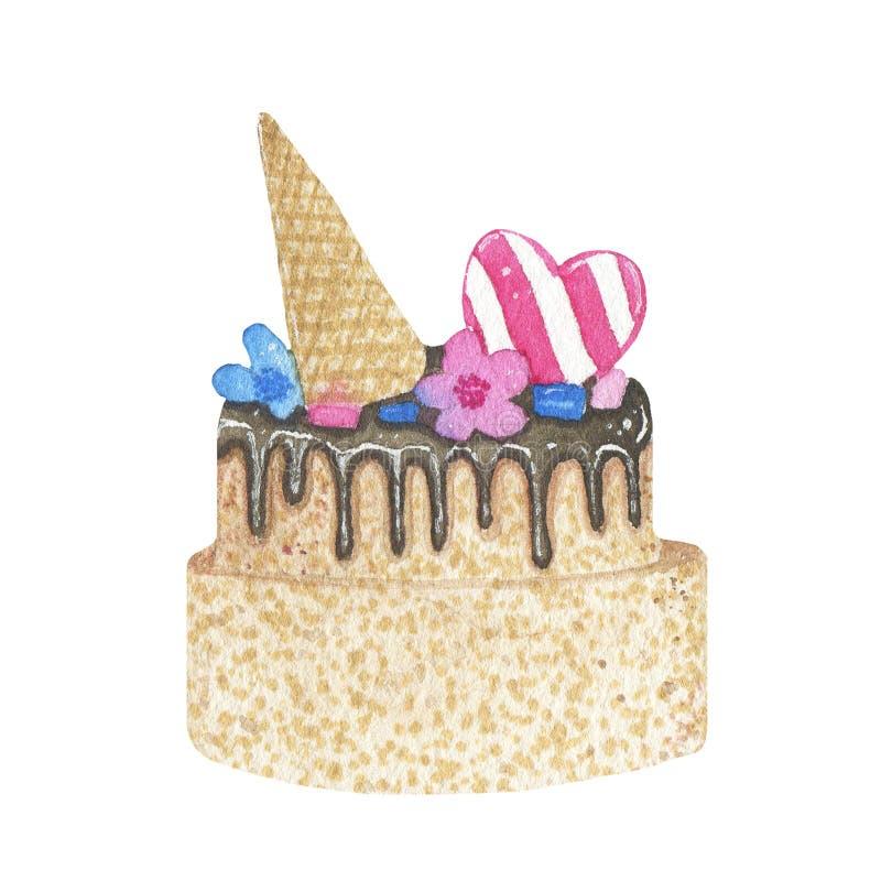 Bolo de aniversário tirado mão da aquarela com o chocolate isolado no fundo branco ilustração stock