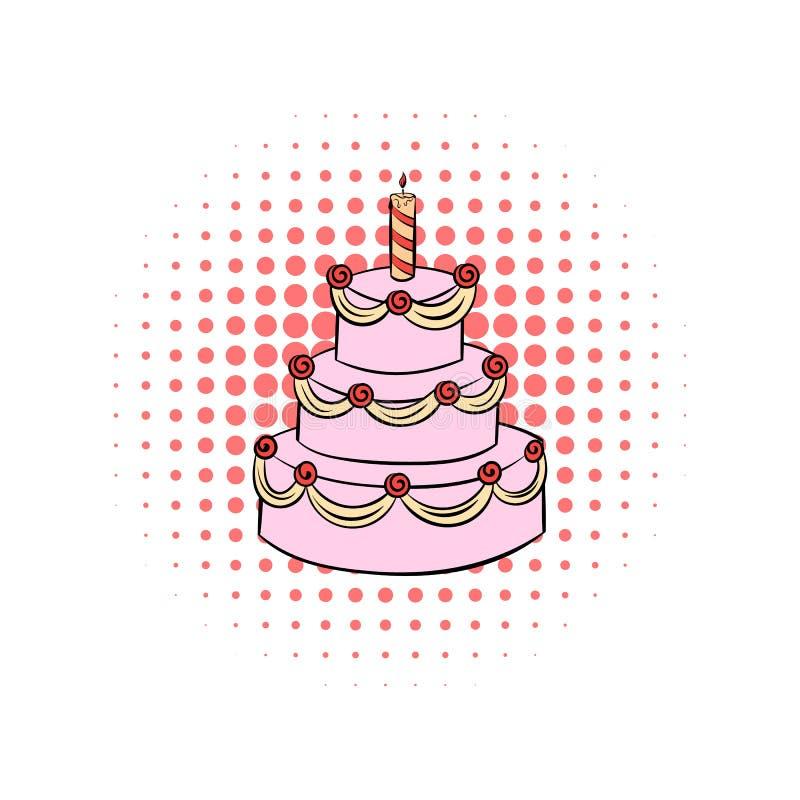 bolo de aniversário Três-estratificado com ícone da banda desenhada da vela ilustração royalty free