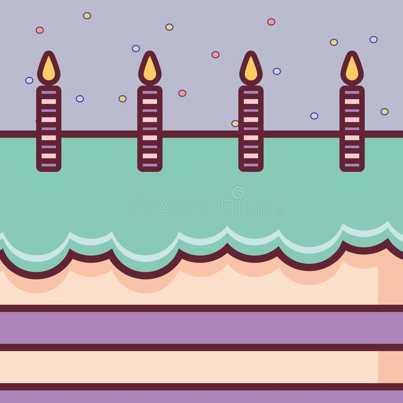 Bolo de anivers?rio doce com velas ilustração stock