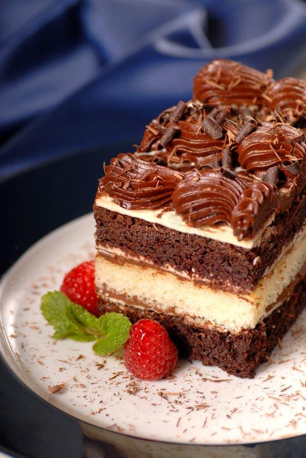 Bolo de camada do chocolate com framboesas imagem de stock