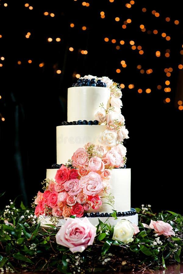 Bolo de casamento bonito e saboroso imagem de stock royalty free