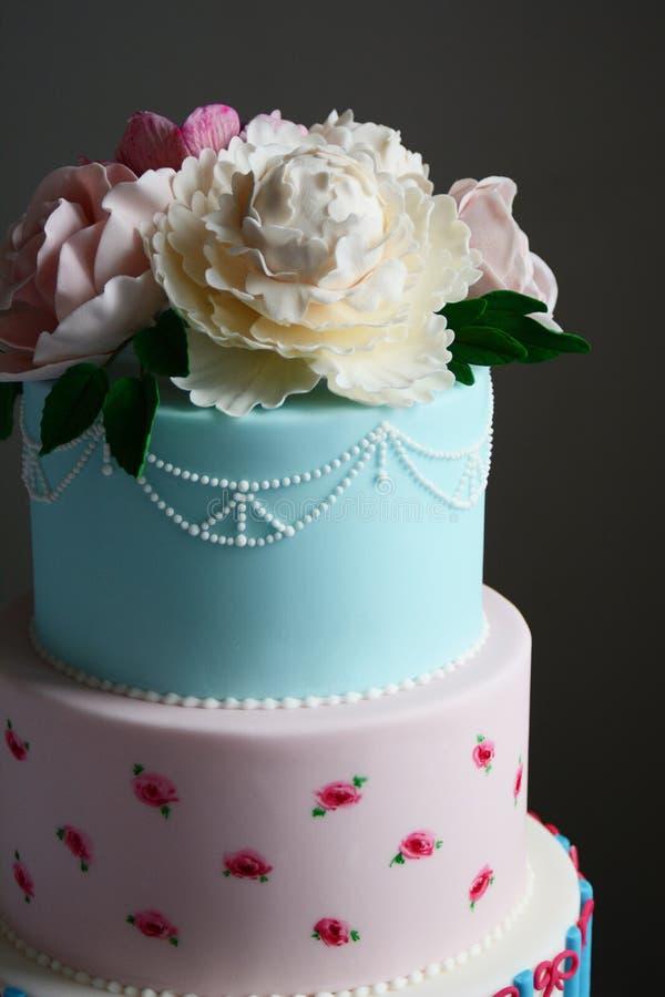 Bolo de casamento colorido lindo imagem de stock