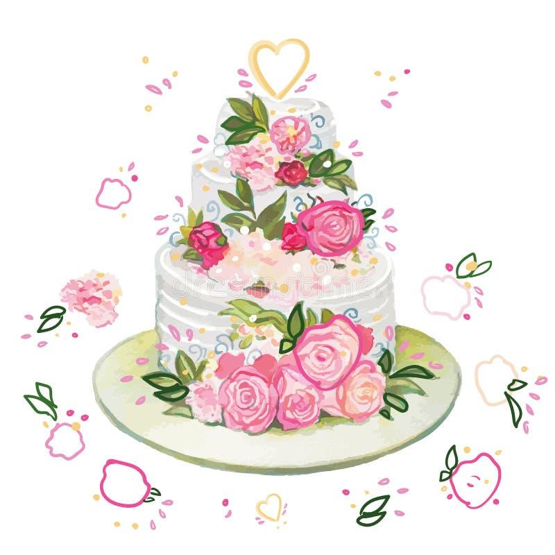 Bolo de casamento com flores ilustração do vetor