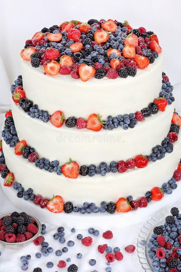 Bolo de casamento com frutos no fundo branco imagens de stock royalty free