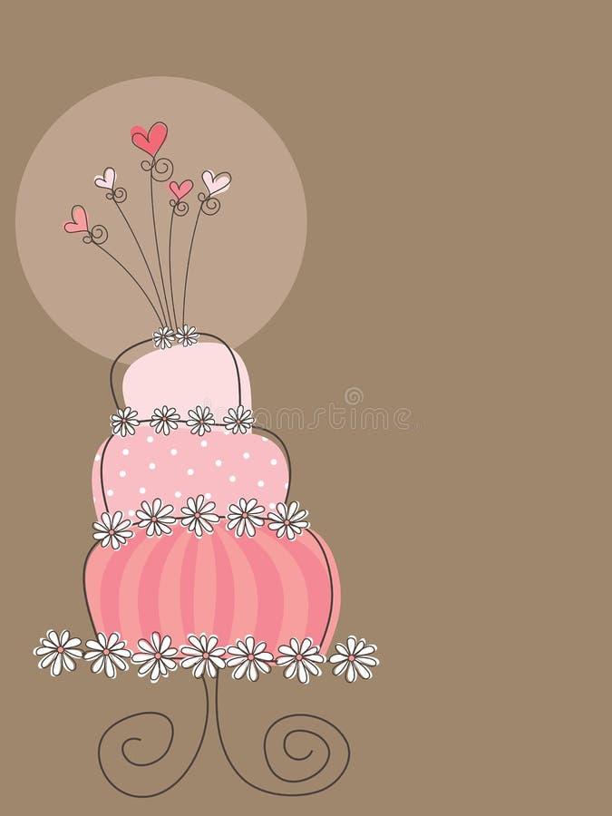 Bolo de casamento cor-de-rosa doce ilustração royalty free
