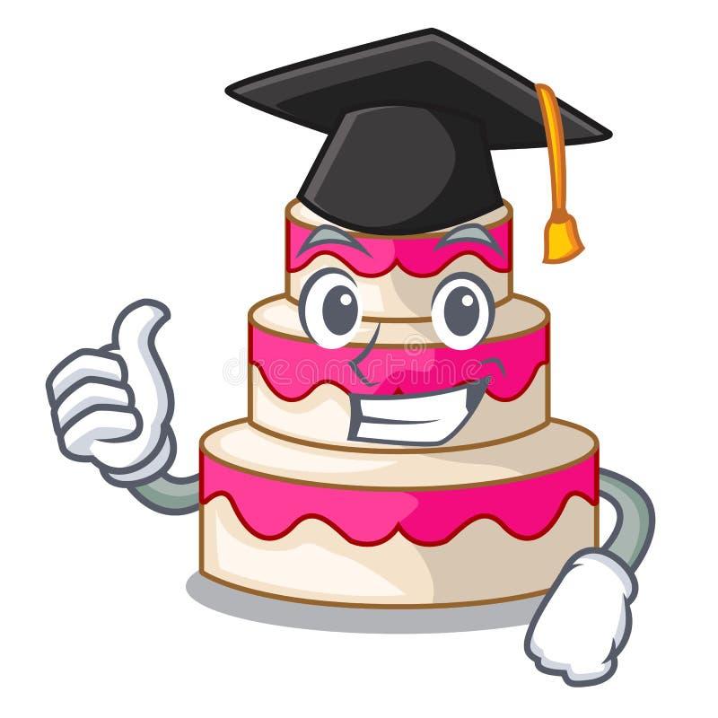 Bolo de casamento da graduação acima da tabela de madeira dos desenhos animados ilustração stock