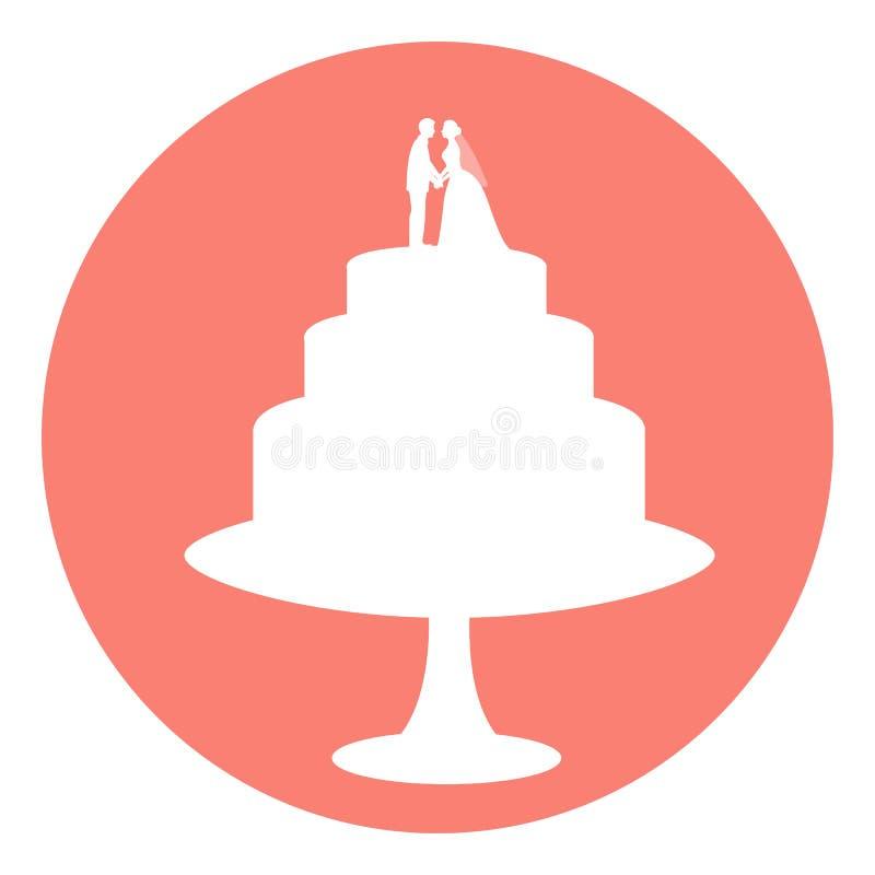 Bolo de casamento do ícone ilustração royalty free