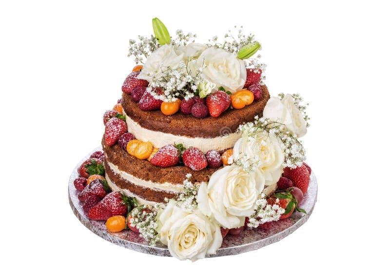 Bolo de casamento feito de rosas e de fruto das flores fotografia de stock royalty free