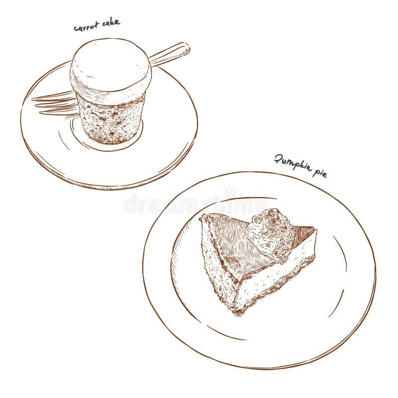 Bolo de cenoura e tarte de abóbora, vetor do esboço da tração da mão ilustração stock