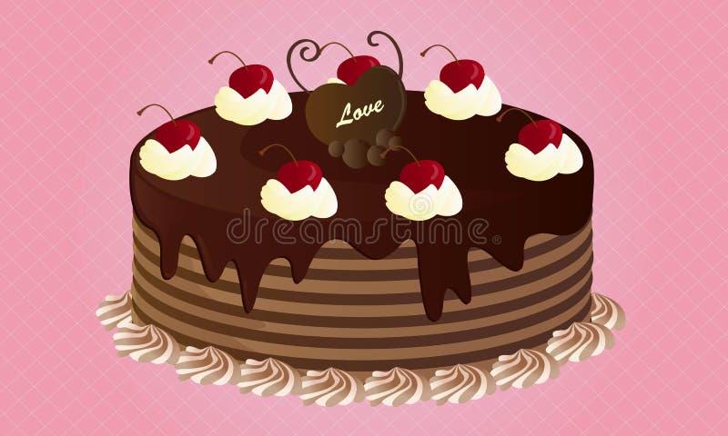 Bolo de chocolate com cerejas ilustração stock