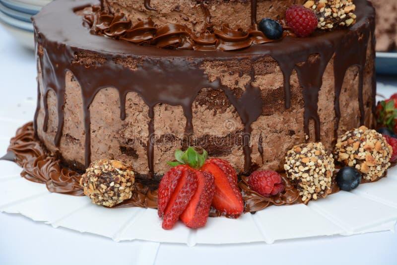 Bolo de chocolate com morango foto de stock royalty free