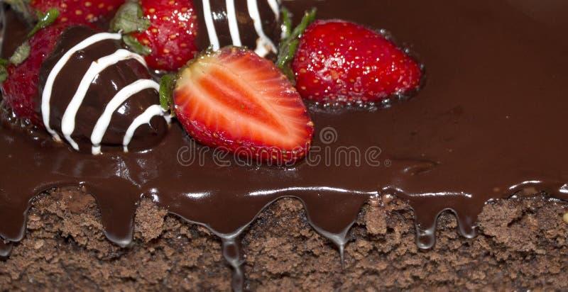 bolo de chocolate com morangos imagem de stock royalty free