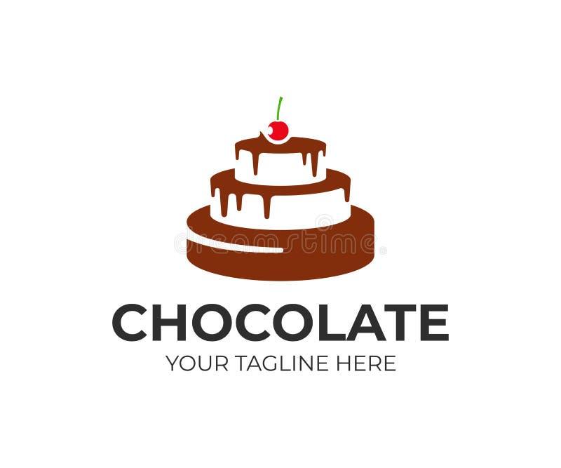 Bolo de chocolate com projeto do logotipo da cereja Projeto do vetor da loja de pastelaria ilustração stock