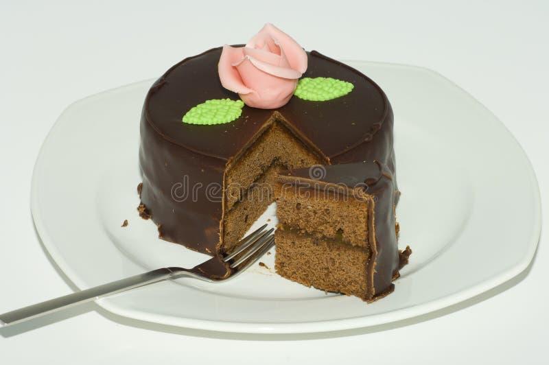 Bolo de chocolate de Sacher foto de stock royalty free