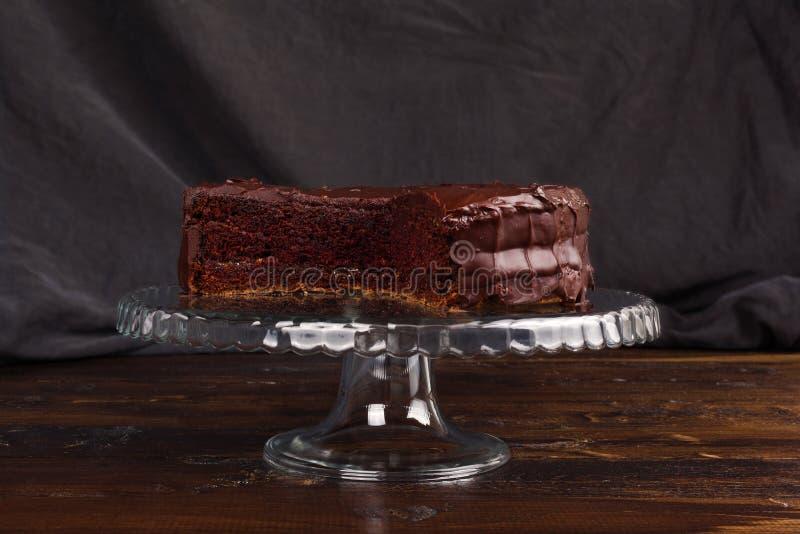 Bolo de chocolate delicioso de Sacher fotos de stock