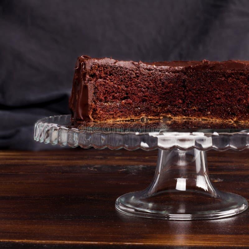 Bolo de chocolate delicioso de Sacher foto de stock