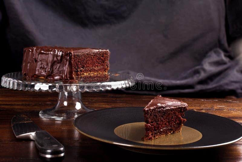 Bolo de chocolate delicioso de Sacher foto de stock royalty free