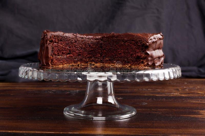 Bolo de chocolate delicioso de Sacher fotografia de stock