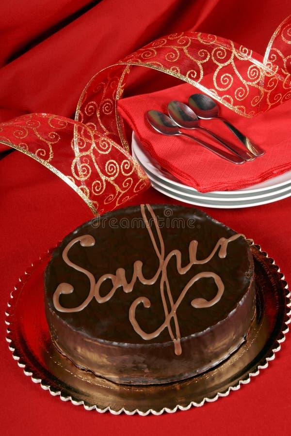 Bolo de chocolate do torte de Sacher fotografia de stock