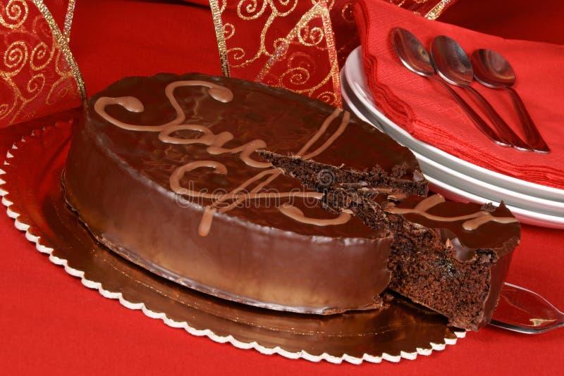 Bolo de chocolate do torte de Sacher fotografia de stock royalty free