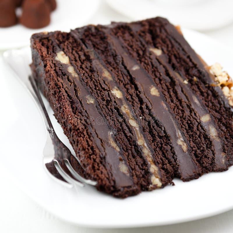 Bolo de chocolate escuro imagem de stock