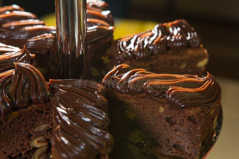 Bolo de chocolate escuro delicioso imagem de stock