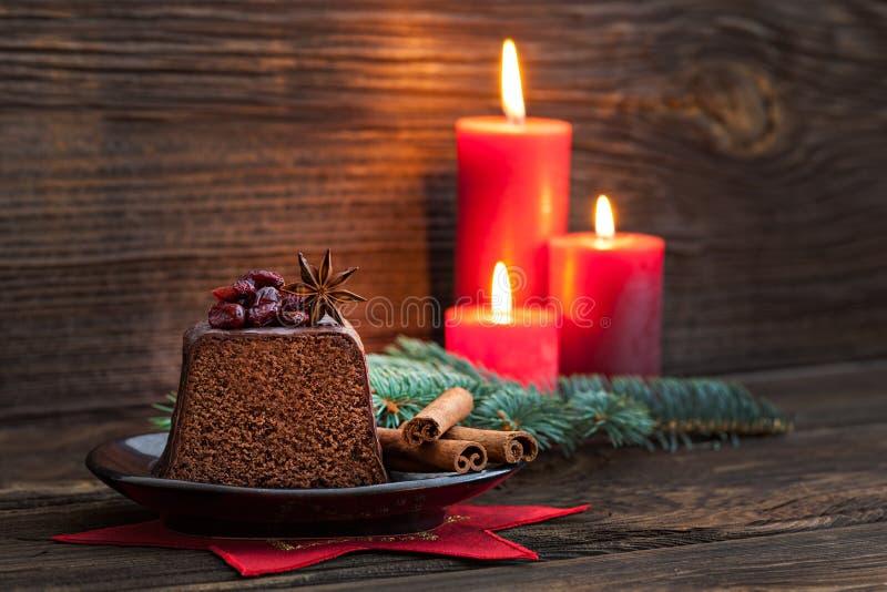 Bolo de chocolate para o Natal foto de stock royalty free