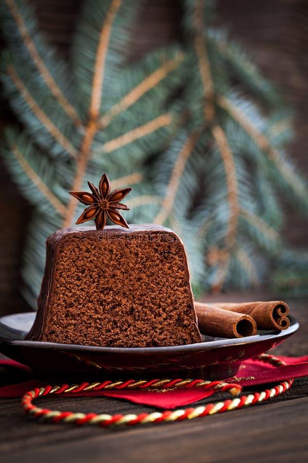 Bolo de chocolate para o Natal fotos de stock