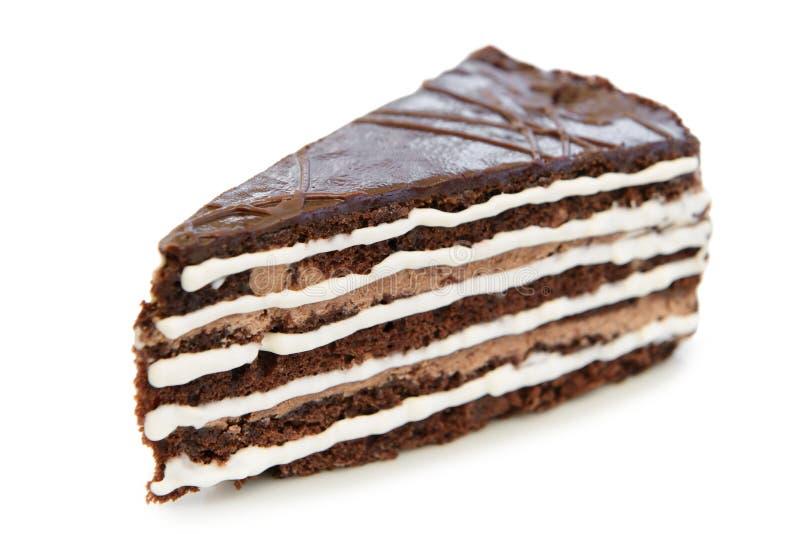 Bolo de chocolate saboroso isolado fotografia de stock royalty free