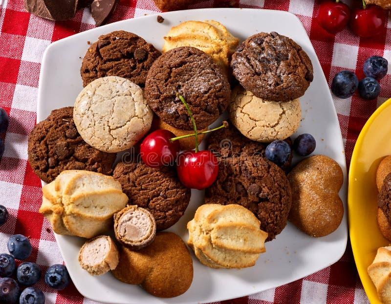 Bolo de cookies de farinha de aveia e de chocolate da areia com o alargamento do sol dos mirtilos fotos de stock royalty free
