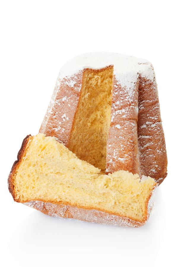 Bolo de Pandoro, de Natal e fatia com açúcar de crosta de gelo foto de stock royalty free