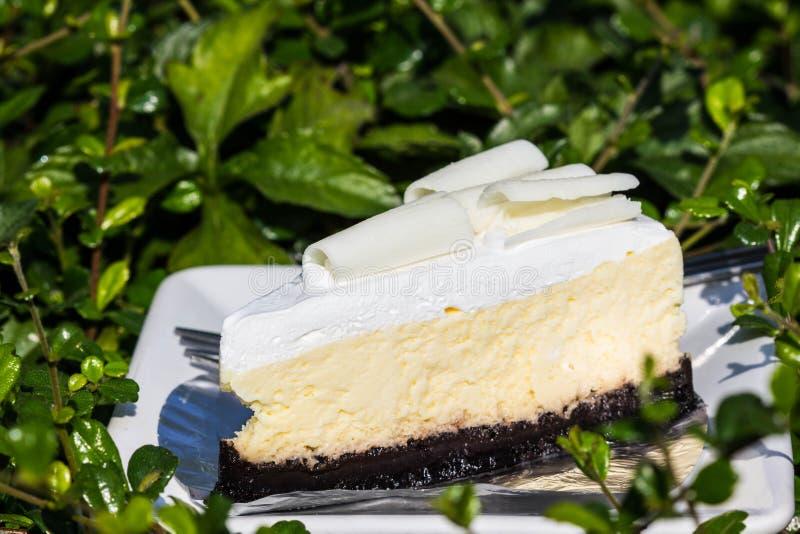 Bolo de queijo branco do chocolate imagem de stock royalty free