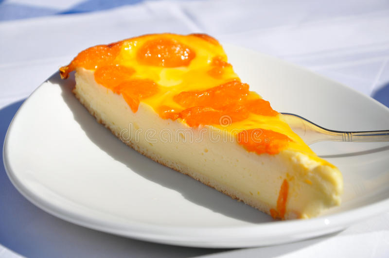 Bolo de queijo com tangerines foto de stock