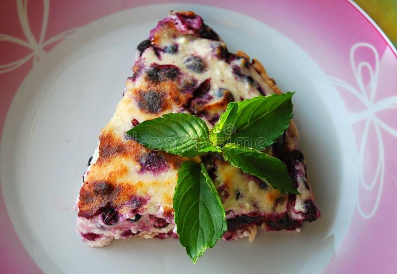Bolo de queijo comido com bluberries e as folhas frescas da pastilha de hortelã na parte superior fotografia de stock royalty free