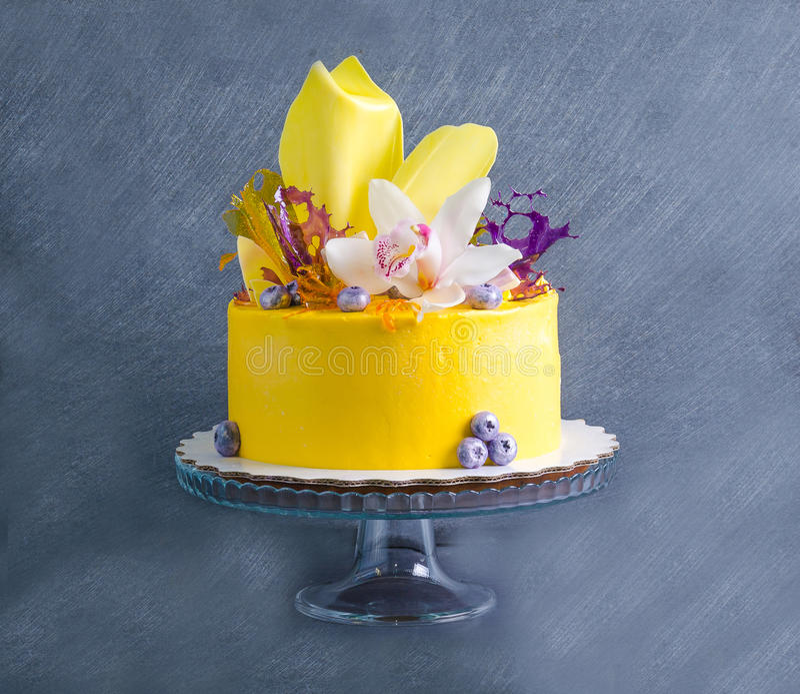 Bolo de queijo de creme amarelo com decoros da torção e do isomalt do chocolate fotografia de stock royalty free