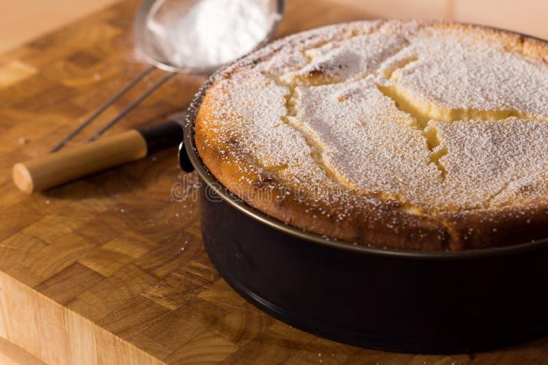 Bolo de queijo fresco com açúcar pulverizado foto de stock