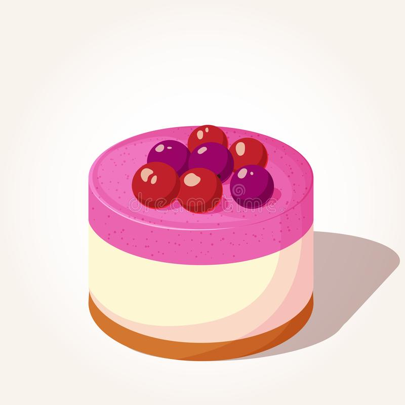 Bolo de queijo saboroso colorido com as bagas no estilo dos desenhos animados isoladas no fundo branco Ilustração do vetor Sobrem ilustração do vetor