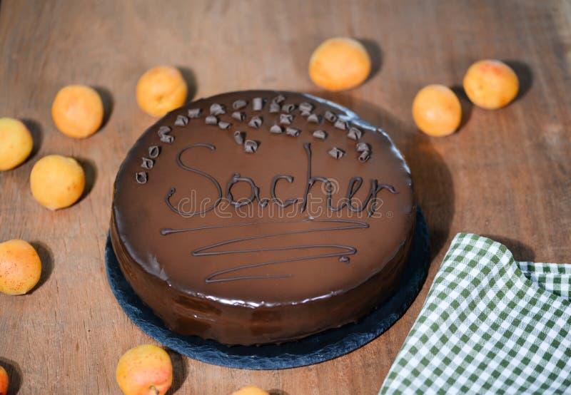 Bolo de Sacher - sobremesa austr?aca tradicional do chocolate imagem de stock