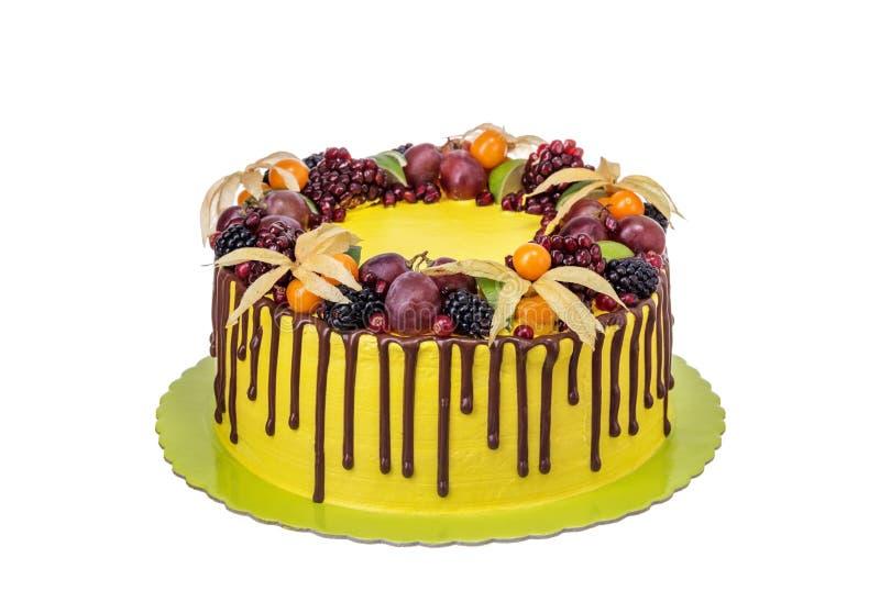 Bolo delicioso colorido com fruto e chocolate derramado foto de stock