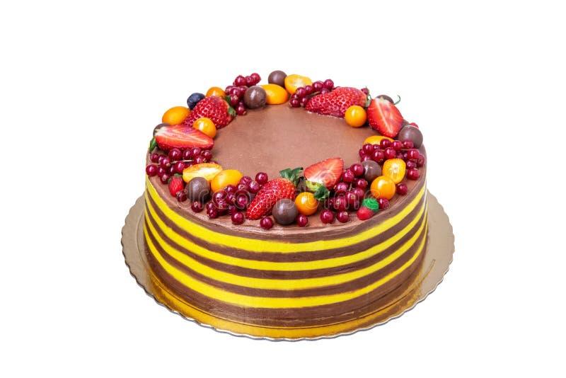 Bolo delicioso para alguma ocasião, close up do chocolate-fruto imagem de stock royalty free