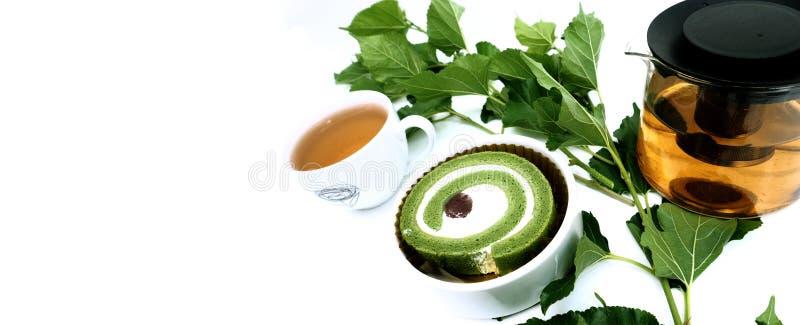 Bolo do chá verde de Matcha imagens de stock royalty free