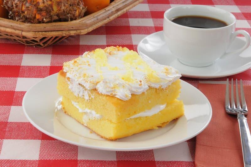Bolo do limão com café em uma tabela de piquenique imagens de stock royalty free