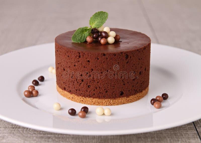 Bolo do mousse de chocolate fotos de stock royalty free